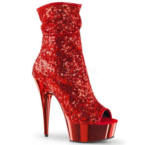 DELIGHT-1008SQ rot     Zehenfreie Open Toe Stiefelette mit roten Pailletten und rot verchromtem Plateau